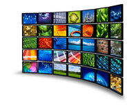 Multimedia monitor wall Stock Photography