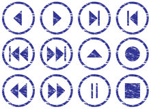 Multimedia navigation buttons set. Royalty Free Stock Images