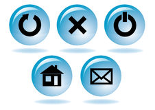 Multimedia navigation icon set. Contains refresh close power-off home and mail buttons Royalty Free Stock Photo