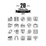 Multimedia objects line icons set. Thin lines icons set of multimedia and presentation objects, audio records, video clips, gaming and various media elements Royalty Free Stock Photography