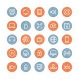 Multimedia och plan symbolsuppsättning för teknologi Royaltyfria Foton