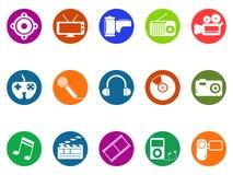 Multimedia om geplaatste knooppictogrammen vector illustratie