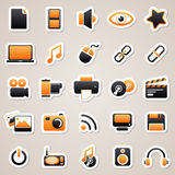 Multimedia orange stickers Royalty Free Stock Photos