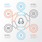 Multimedia Outline Icons Set. Collection Of Amplifier, Keys, Earphones And Other Elements. Also Includes Symbols Such As Royalty Free Stock Images