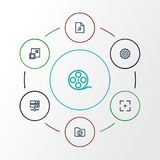 Multimedia Outline Icons Set. Collection Of Gear, Target, Datacenter And Other Elements. Also Includes Symbols Such As Royalty Free Stock Photos