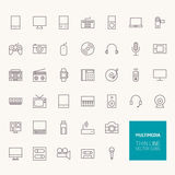 Multimedia Outline Icons Stock Photography