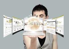 Multimedia in palma della vostra mano Fotografia Stock