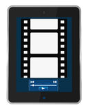 Multimedia portable device. One portable device with a screen that shows a movie reel and  a software media player buttons (3d render Royalty Free Stock Image