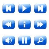 Multimedia-Prüfer-Square Vector Blue-Ikone Lizenzfreie Stockfotos