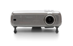 Multimedia projector. A front view from a multimedia projector isolated on white - studio shot Royalty Free Stock Images