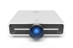 Multimedia projector. Front view of multimedia projector on white background Royalty Free Stock Images