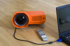 Multimedia projector and all to it. Connected. A series of photos about the Video projector for work presentation or home cinema entertainment Stock Image