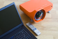 Multimedia projector and all to it. A series of photos about the Video projector for work presentation or home cinema entertainment stock photo