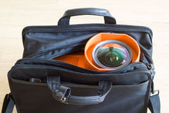 Multimedia projector in the bag. A series of photos about the Video projector for work presentation or home cinema entertainment royalty free stock image