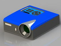Multimedia projector with a blue and gray plastic with a big lens  Royalty Free Stock Photos