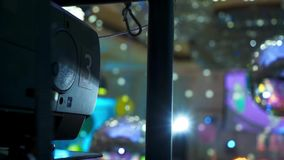 Multimedia projector and discoball at the party. Indoors stock video footage