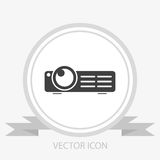 Multimedia projector vector icon. On grey background Stock Photos