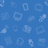 Multimedia przedmiota wzór bezszwowy ilustracji