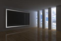 Multimedia room. 3d render with big interactive plasma screen royalty free illustration