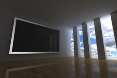 Multimedia room. 3d render with big interactive plasma screen Royalty Free Stock Photos