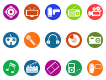 Multimedia round button icons set Royalty Free Stock Image