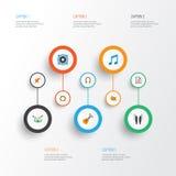 Multimedia sänker symbolsuppsättningen Samling av öraMuffs, skalm, musikbandbeståndsdelar Inkluderar också symboler liksom högtal vektor illustrationer