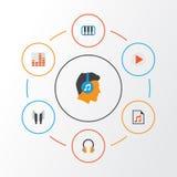 Multimedia sänker symbolsuppsättningen Samling av öraMuffs, skalm, Pianoforte och andra beståndsdelar Inkluderar också symboler s stock illustrationer
