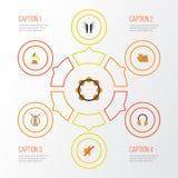 Multimedia sänker symbolsuppsättningen Samling av skalm, schellack, sonat och andra beståndsdelar Inkluderar också symboler likso stock illustrationer