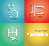 Multimedia Shadow Icons Royalty Free Stock Images