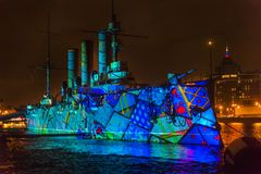 Multimedia show in honor of the 100th anniversary of the revolution on the Aurora Cruiser stock photo