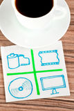 Multimedia signs on a napkin Stock Images