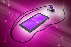 Multimedia smart phone with earphones Stock Image