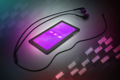 Multimedia smart phone with earphones Royalty Free Stock Photo