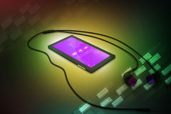 Multimedia smart phone with earphones Royalty Free Stock Image