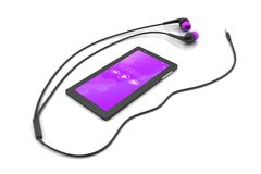 Multimedia smart phone with earphones Stock Photography