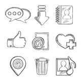 Multimedia and social media sketched icons Stock Photo
