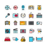 Multimedia sound audio music radio video thin line vector icons with flat elements Stock Photography