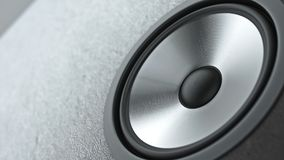 Multimedia speaker system with different speakers closeup over black background 3d render. Multimedia speaker system with different speakers closeup over black Royalty Free Stock Image