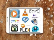 Multimedia-Spieler programmiert Ikonen lizenzfreies stockbild