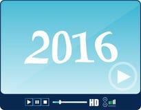 Multimedia-Spieler-Schnittstelle, Netzspieler lokalisiert auf Weiß mit einem Zeichen 2016 lizenzfreie stockfotos
