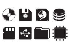 Multimedia storage icon set. Vector design of concept flat icon communication Stock Photos
