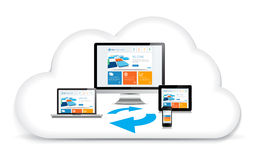 Multimedia Syncing Data Cloud Royalty Free Stock Photos