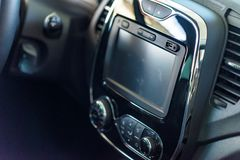 Multimedia system of modern car. Interior concept royalty free stock images