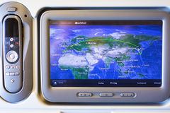 Multimedia system with navigation map of Boeing 777 stock image