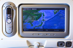 Multimedia system with navigation map of Boeing 777 Royalty Free Stock Photo