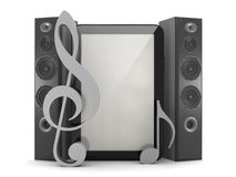Multimedia in a tablet computer - tablet and speakers Stock Photos