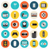 Multimedia and technology flat icons Stock Images