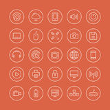Multimedia and technology flat line icons. Flat thin line icons modern design style illustration vector set of technology objects and equipments, multimedia Vector Illustration