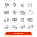 Multimedia thin line art icons set. Entertainment. Industry, digital television, modern gadget. Linear style symbols isolated on white Stock Photos