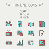 Multimedia thin line icon set Stock Photos